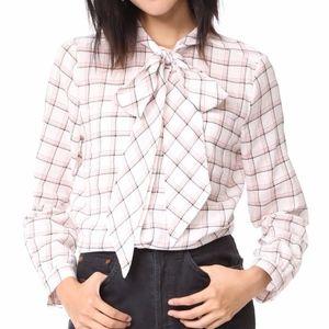 JOIE Porcelain HINA Plaid Button Down Bow Shirt